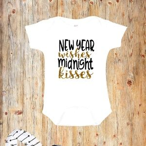 New Year Wishes Midnight Kisses Baby Onesie